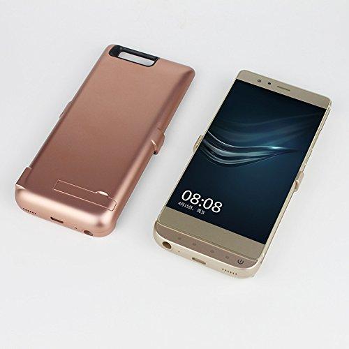 Huawei P9 Plus Funda Batería, Moonmini 8000mAh Ultra Delgado Recargable Portátil Externo Batería Pack Power Bank Backup Externa Integrada Recargable de Alta Capacidad Estuche de carga Protector Carcas Dorado