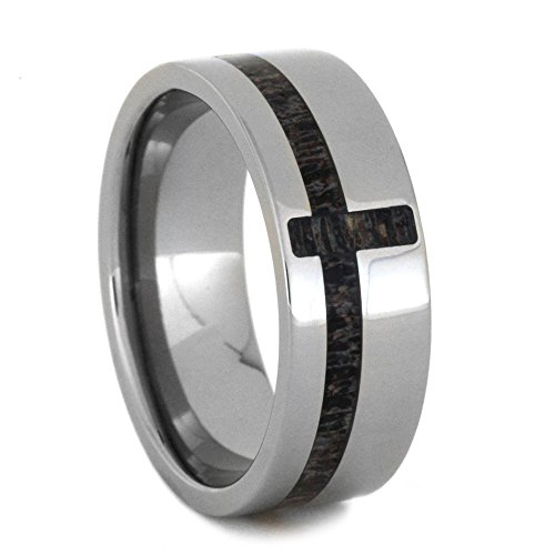 Cross Inlay of Deer Antler 8mm Comfort-Fit Titanium Wedding Band, Size 10.25 by The Men's Jewelry Store (Unisex Jewelry)