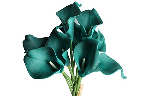 50 Heads Mini Calla Lily Bridal Wedding Bouquet Real Touch Artificial Flower Bouquets (dark teal)