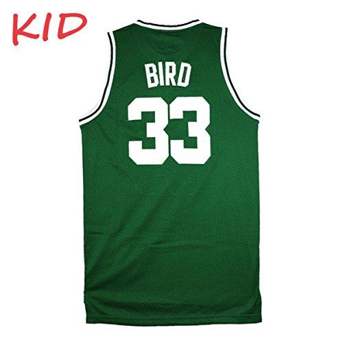 Kids Bird Jerseys Youth Basketball Athletics 33 Boys Larry Jersey Green Size S(7-9 Years Old)