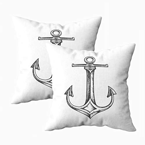 (Musesh 18x18 Pillow Cases, Pack of 2 Sea Anchor Isolated White Background for Sofa Home Decorative Pillowcase Throw Pillow Covers)
