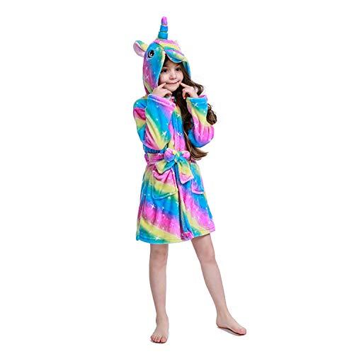 Flannel Loungewear - Kids Soft Bathrobe Comfortable Flannel Loungewear Sleepwear,Rainbow Galaxy Unicorns Robes 6-7 Years Old