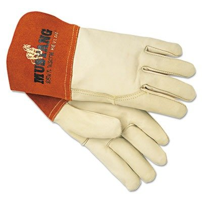 MPG Mustang MIG/TIG Leather Welding Gloves, White/Russet, Large, 12 Pairs (4950L)