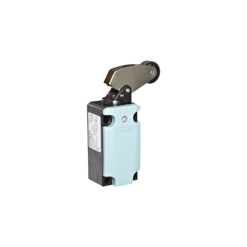 Siemens 3SE5 112 0BF01 International Limit Switch Complete Unit, Angular Roller Lever, 40mm Metal Enclosure, Metal Lever, 22mm Plastic Roller, Slow Action Contacts, 1 NO + 1 NC Contacts