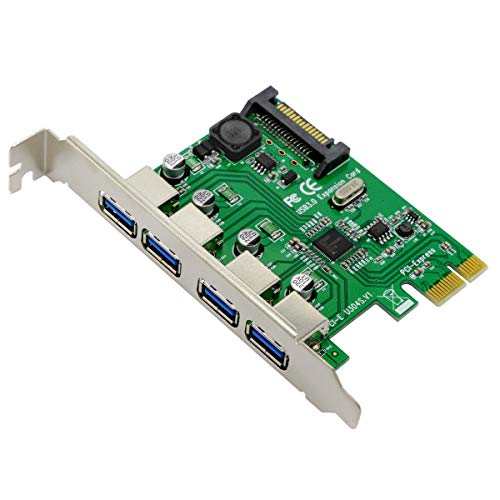 Ubit Superspeed 4-Port PCI-E to USB 3.0 Expansion Card, U3N04S 4-Port PCI Express Card with 15 Pin SATA Power Connector,Super Fast 5G Mbps PCI Express (PCIe) Expansion Card for Desktop PC