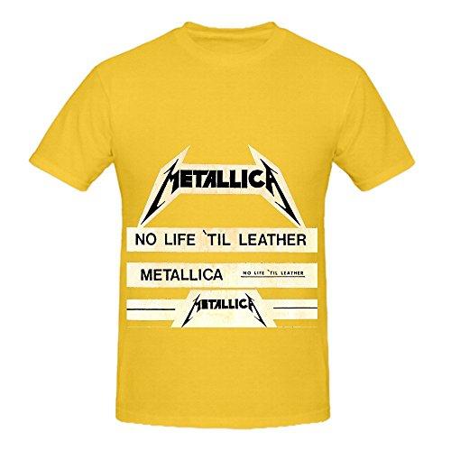 Metallica No Life Til Leather Funk Men Crew Neck Cool Tee Yellow (20