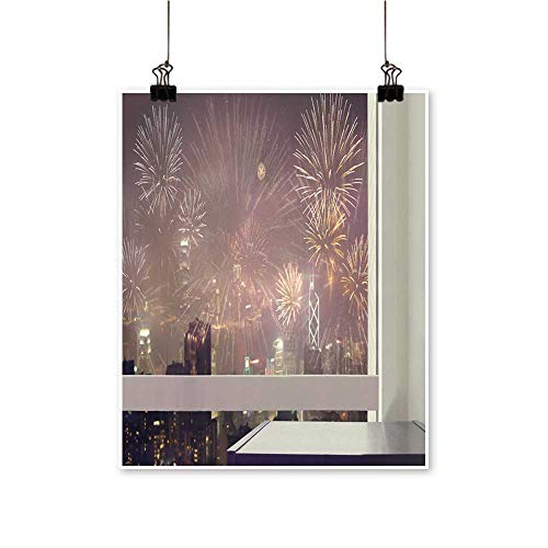 1 Piece Wall Art Painting Black Wooden Table at Glass Window City Night View Firework Living Room Office Decoration,28