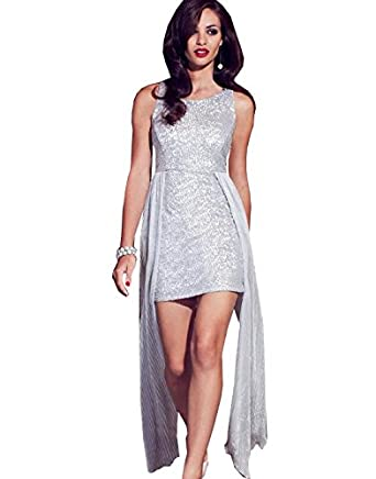 Lipsy Sequin Peplum Party Evening Mini Date Prom Club Bodycon JD01990 Dress (UK 12,