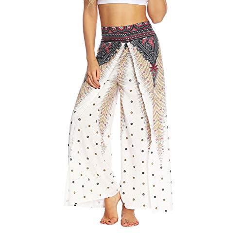 (Lcoco&Dream Women's Wide Leg Boho Yoga Harem Pants Comfy Indian Thailand Bohemian Palazzo Pants)