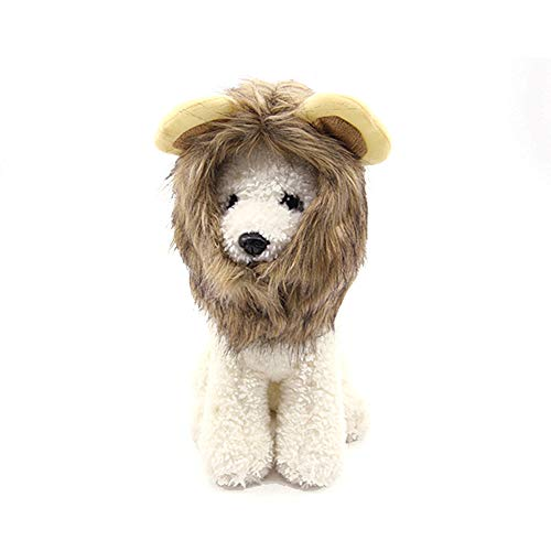 Konvinit Cat Lion Pattern Mane Wig Hat Pet Costume Wearable Cat Hair Accessory Halloween Christmas Easter Festival Party Activity Washable Comfortable (S)