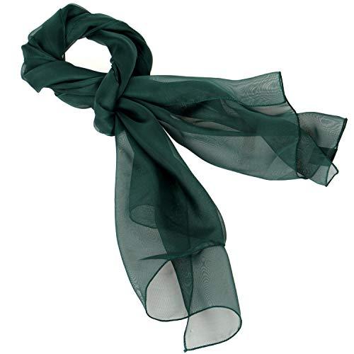 (Women Solid Chiffon Silky Oblong Neckerchief Scarf, H.Green)