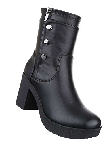Damen Boots Stiefeletten Schuhe Plateau Schwarz 36 37 38 39 40 41 Schwarz