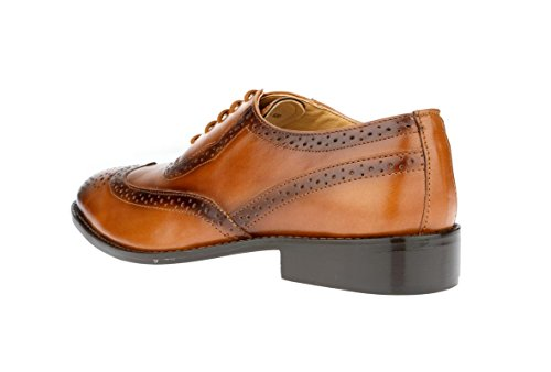 tip up Dress Leather Oxford Perforated Burnished Tan Brogue Shoes Liberty Toe Men's Lace Wing Handmade 18xqFZ