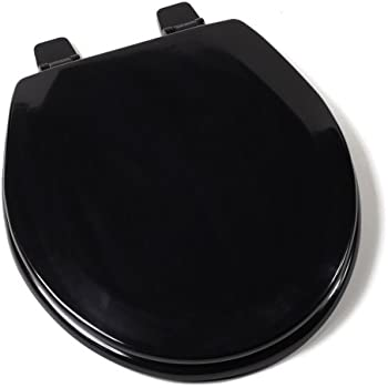 black and white toilet seat. Comfort Seats C1B4R2 90 Deluxe Molded Wood Toilet Seat  Round Black KOHLER K 4775 7 Brevia with Quick Release Hinges front