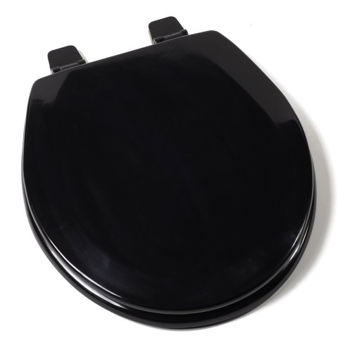 Comfort Seats C1B4R2-90 Deluxe Molded Wood Toilet Seat, Round, Black