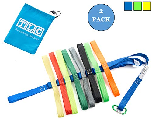 The Learning Classroom Preschool Walking Rope, Carry Bag, 16-Colorful Handles, Blue/Green/Yellow, 1-Pack or 2-Pack, Daycare, Toddler