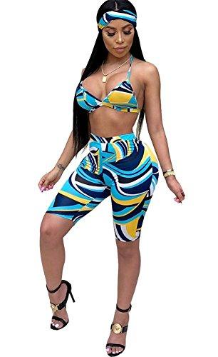 LAJIOJIO Womens Sexy Halter Bra Top Shorts and Headband 3 Piece ()