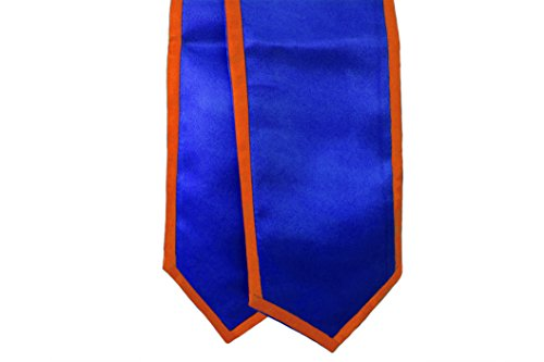 Graduation Honor Stoles/Sashes with Classic End and Trim (Royal Blue w/Orange Trim)