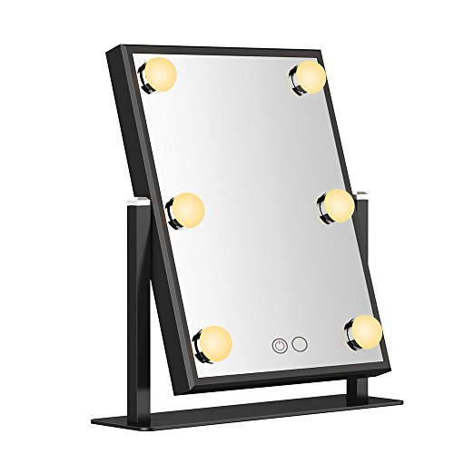 Nitin Vanity Mirror with Dimmable and Touch Control Design, Hollywood Style Makeup Cosmetic Mirrors with Lights , Aviation - Grade Aluminum Frame Jewelry Packaging Material Velvet Back Plate (Black)
