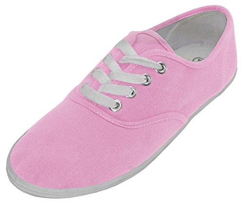 Cambridge Select Dames Klassiek Veterschoen Gesloten Ronde Neus Fashion Sneaker Babyroze