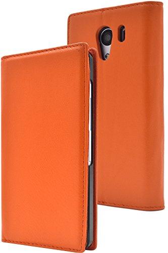 PLATA Android One S2 / DIGNO G ケース 手帳型 ラム シープスキン 羊革 本革 レザー カバー 【 オレンジ 橙 おれんじ orange 】