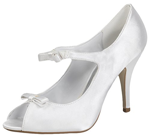 Lora Dora Womens High Heels Satin Lace Flower Bridal Wedding Peep Toe Comfort Shoes Ladies Ivory Sandals Size UK 3-8 White - Bow Front gGrs95Tx