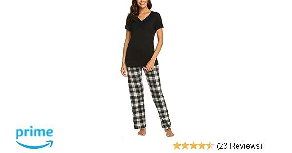 8bb2f9f7e0 Amazon.com  Hotouch Pajama Sets Womens Sleepwear Pjs Cotton Top   Long  Plaid Bottoms pj Set S-XXL  Clothing