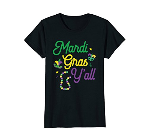 Yourself Mardi Gras Mask - Womens Mardi Gras Y'All Mardi Gras T-Shirt Mask Beads Party Gift XL Black