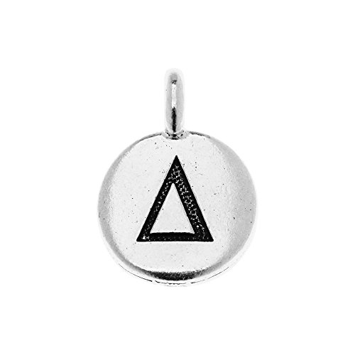 habet Charm, Delta Symbol 16.75x11.75mm, 1 Piece, Antiqued Silver Plated ()