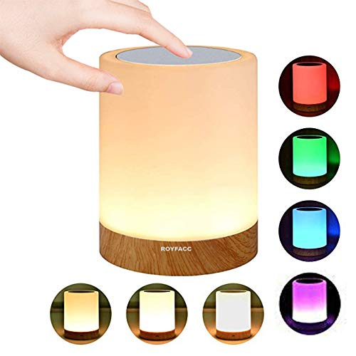 (ROYFACC Night Light Touch Sensor Lamp Bedside Table Lamp for Kids Bedroom Rechargeable Dimmable Warm White Light + RGB Color Changing)