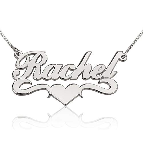 RESVIVI Personalized Sterling Silver Name Necklace Custom Made Any name Pendant Necklace