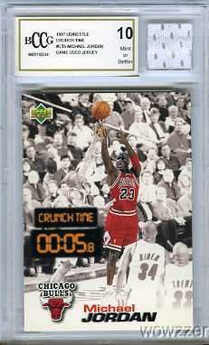 1997 Upper Deck Nestle Crunch Time #CT5 Michael Jordan with Piece of Authentic Michael Jordan Chicago Bulls Game Used Jersey Graded BGS Beckett 10 MINT GGUM - Authentic Michael Jordan Jersey