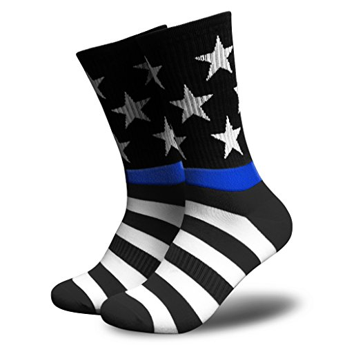 American Flag Socks for Men or Women, Patriotic USA Freedom High Socks, Premium (Blue Line, Mens)