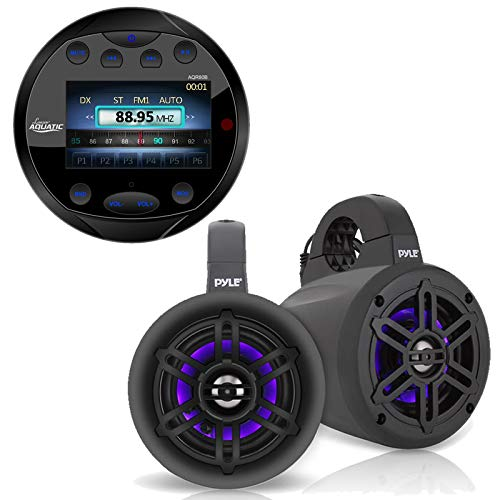 Lanzar Waterproof Bluetooth Marine Digital Media Receiver Stereo Radio Round Black, 4
