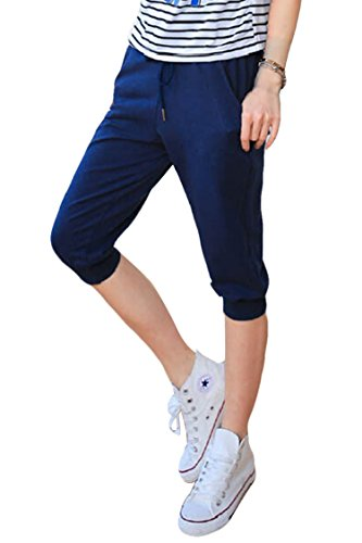 Pink Queen Women's Casual Drawstring Cuffed Cropped Pants Capri Joggers Style 2-Navy Large ()