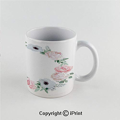 (11oz Unique Present Mother Day Personalized Gifts Coffee Mug Tea Cup White Anemone Flower,Delicate Peony Rose Brunia Eucalyptus Leaves Round Wreath Decorative,Almond Green Light Pink White Funny Cera)