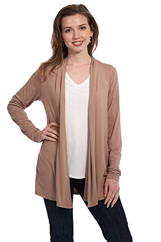 (X America Long Sleeve Knit Open Front Cardigans for Women, Junior and Plus Size (XS, Khaki))