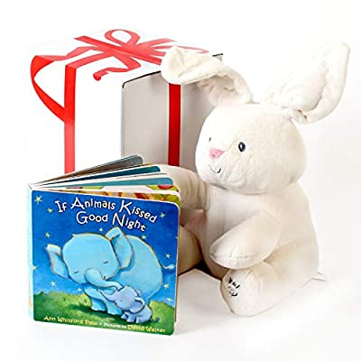 """Gund Baby Flora The Bunny Animated Plush Stuffed Animal Toy, Cream, 12"""", With """"If Animals Kissed Good Night"""" Baby Book . Free Gift Box Included. For Baby Gifts, Birthday, Holidays And Baby Shower."""