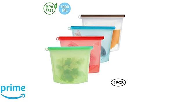 SOOJET Bolsa Reutilizable de Silicona para Alimentos, Bolsas para Alimentos reciclables,Bolsa de Almacenamiento Preservación de Alimento para Fruta, ...