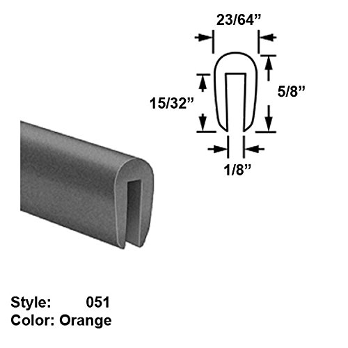 Silicone Foam High-Temperature U-Channel Push-On Trim, Style 051 - Ht. 5/8'' x Wd. 23/64'' - Orange - 25 ft long by Gordon Glass Co.