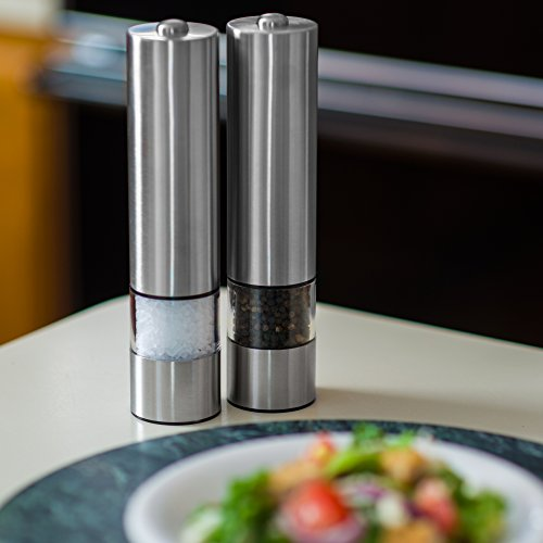 Battery Powered Brushed Stainless Steel Salt, Pepper, or Spice Mill | One Touch Automatic Battery Powered Pepper Grinder | Single Pepper Mill