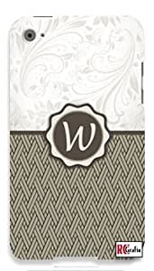 Monogram Initial Letter W Apple ipod 5 Ipod 5g Quality Hard Case Snap On Skin for ipod Gen 5 and 5, 5G (WHITE CASE)