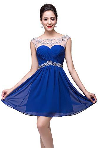 BABYONLINE D.R.E.S.S. Sexy Chiffon Sweetheart Beading Short Dress Sleeveless Junior's Birthday Party Dress(Royal Blue,US8) (Chiffon Neck Beading Sweetheart)