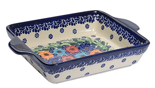 Traditional Polish Pottery, Lasagna Rectangular Casserole Baking Dish with Handles 22cm, Boleslawiec Style Pattern, O.401.Garland