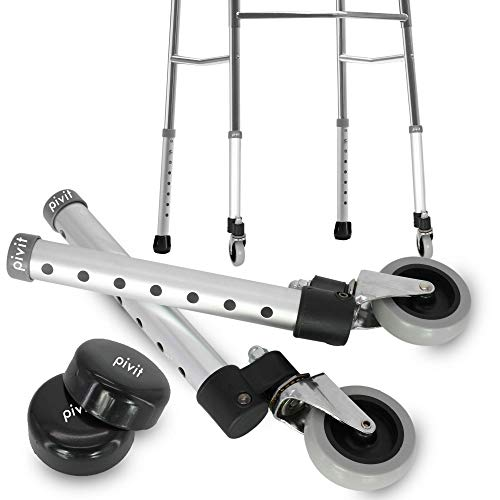 Pivit Swivel Walker Wheels, 3' (Pack of 2) | 360° Radius Turns On A Dime! Smoothly Travel Through Tight Or Crowded Areas | Comes with Glide Covers and Lifetime Warranty | Fits Any 1' Standard Tubing