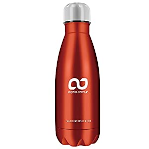 Alpha Armur 12 Oz (350ml) Double Wall Vacuum Insulated Stainless Steel Flask Water Bottle with Narrow Mouth, Red