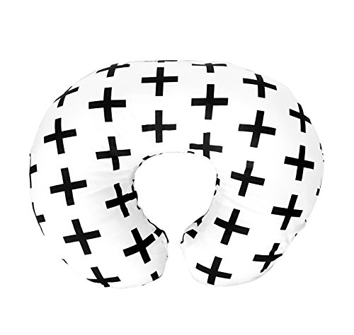 (Premium Quality Nursing Pillow Cover by Mila Millie - Nordic Swiss Black Cross Unisex Design Slipcover - 100% Cotton Hypoallergenic - Perfect for Breastfeeding Mothers - Baby Shower)
