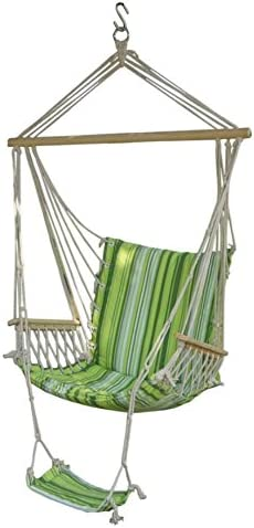 Outdoor Hanging Rope Hammock Chair Swing Porch Garden Patio Stand Cushioned Seat