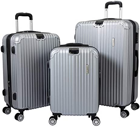 JAXPETY 3 Piece Luggage Set, Hardside Expandable Suitcase with Spinner Wheels, Carry-On TSA Lock (20/24/28) - Gray
