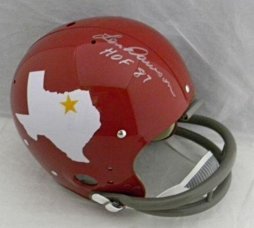- Signed Len Dawson Helmet - Chiefs Tk Throwback F s - JSA Certified - Autographed NFL Helmets
